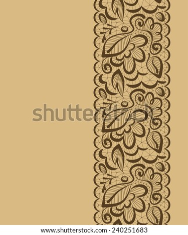 Vector seamless beautiful background. Lace flowers and leaves on a light brown background - stock vector
