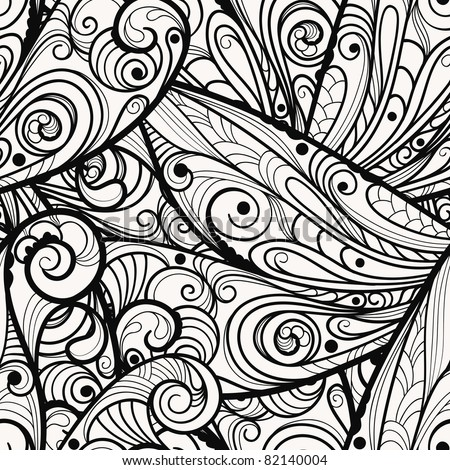 vector seamless beautiful  monochrome pattern - stock vector