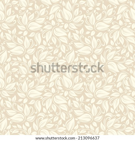 Vector seamless beige floral pattern with leaves. - stock vector