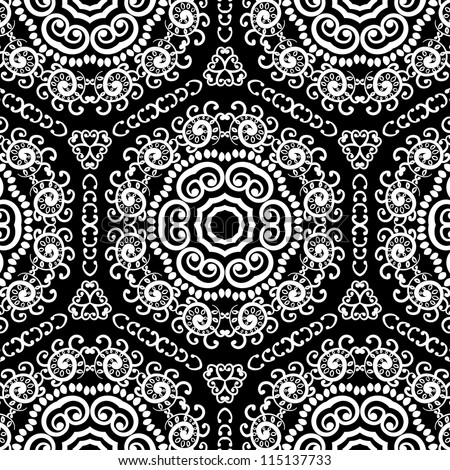 vector seamless black and white floral pattern background - stock vector