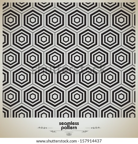 Vector seamless black and white geometric pattern - stock vector