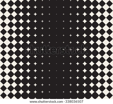 Vector Seamless Black and White Morphing Star Halftone Grid Gradient Pattern Geometric Abstract Background - stock vector