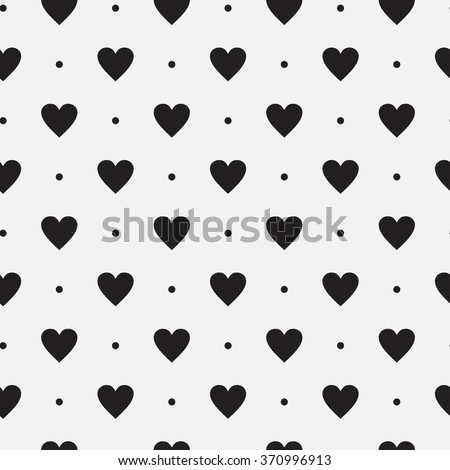 Vector seamless black and white pattern of dots and hearts. - stock vector