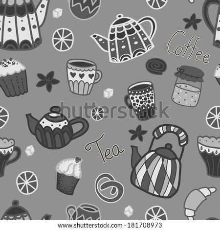 Vector seamless black and white pattern. Retro kitchen objects: teapots, cups, jar with jam, cakes, lemons. Cute hand drawing backdrop - stock vector