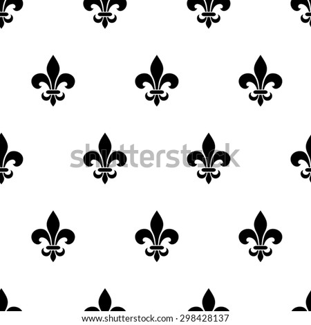 Vector seamless black and white pattern with fleur-de-lis symbols. - stock vector