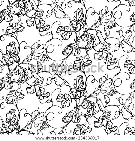 Vector seamless black and white pattern with lathyrus flower - stock vector