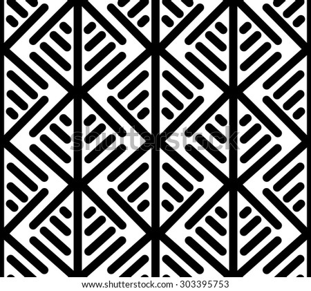 Vector seamless black and white pattern with linear geometric shapes. Abstract ethnic background with squares. - stock vector