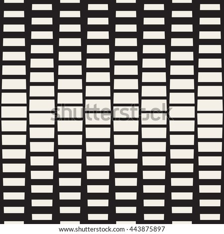 Vector Seamless Black And White Rectangle Halftone Geometric Pattern. Abstract Geometric Background Design - stock vector