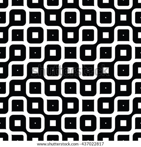 Vector Seamless Black And White  Rounded Irregular Endless Maze Lines Pattern Monochrome Abstract Background - stock vector