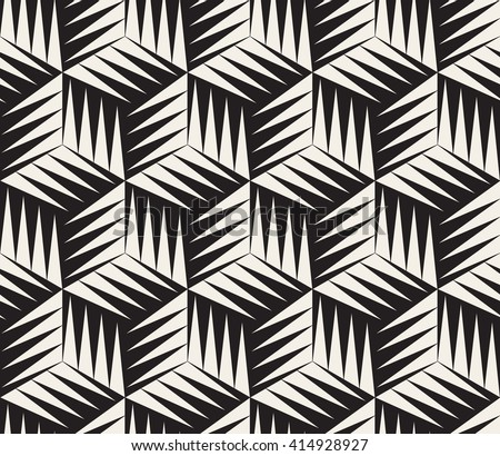 Vector Seamless Black and White Triangle Cubic Tiling Geometric Pattern Abstract Background - stock vector