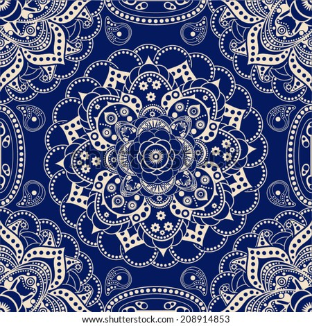 Vector seamless blue pattern - stock vector