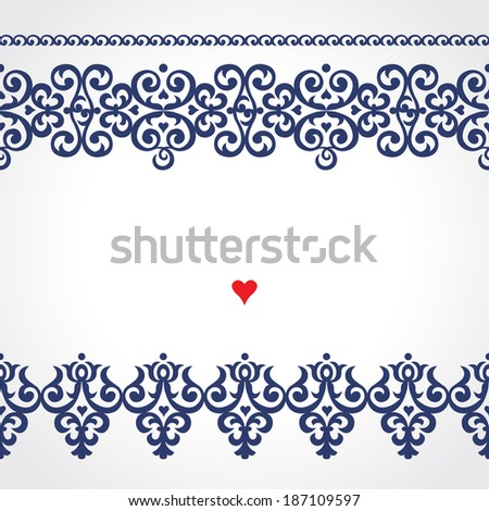 Vector seamless border in Victorian style. Ornate element for design. Place for text. Contrast ornamental pattern for wedding invitations and greeting cards. Traditional floral decor. - stock vector