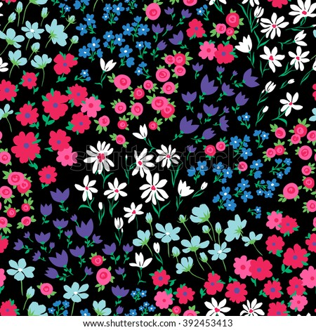 vector seamless bright colorful gentle hand drawn little ditsy flower pattern, summer garden, wildflowers, vibrant floral allover print on black background - stock vector