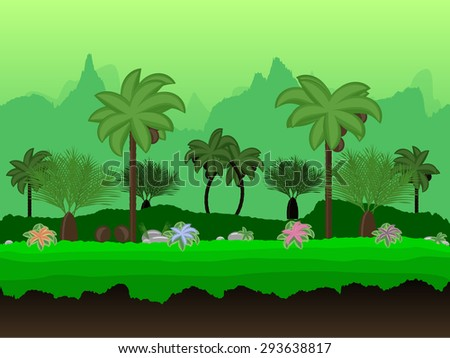 Vector Seamless cartoon nature landscape, unending tropical background with palm trees, coconuts, exotic flowers and multiple levels mountains and bushes - stock vector
