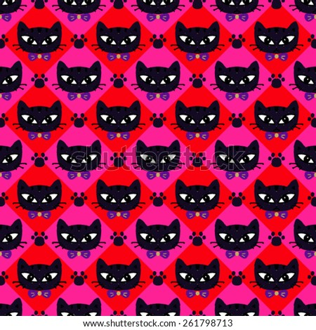 Vector Seamless Cat Background Pattern - stock vector