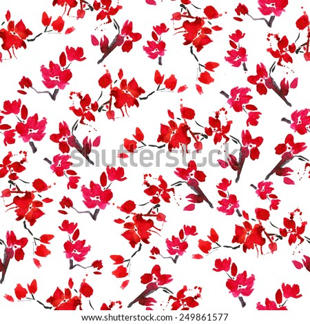 vector seamless cherry blossoms. background of blooming red flowers. symbol of spring - Japanese cherry Sakura. watercolor pattern branch blooming - stock vector