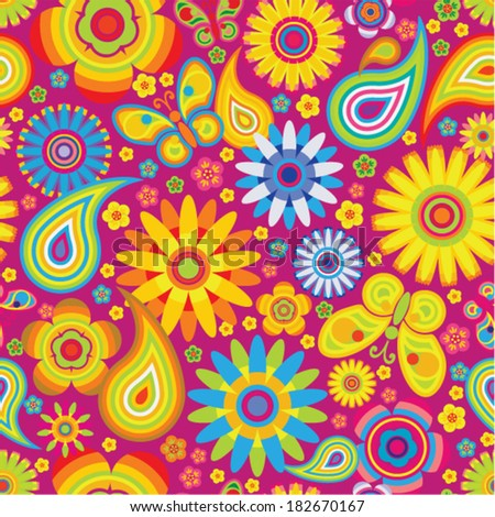 Vector seamless - chinese flower pattern  - stock vector