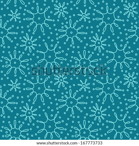 Vector seamless christmas pattern with blue snowflakes of doodle. Cute festive background in hand drawn childish style. Winter simple cute illustration. Ornamental decorative texture for print, web - stock vector