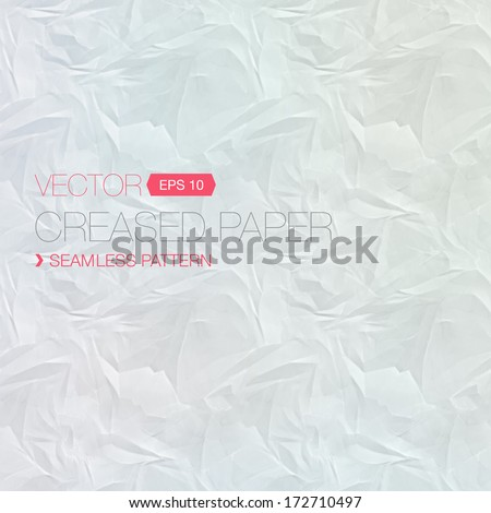 Vector seamless crumpled paper texture - stock vector