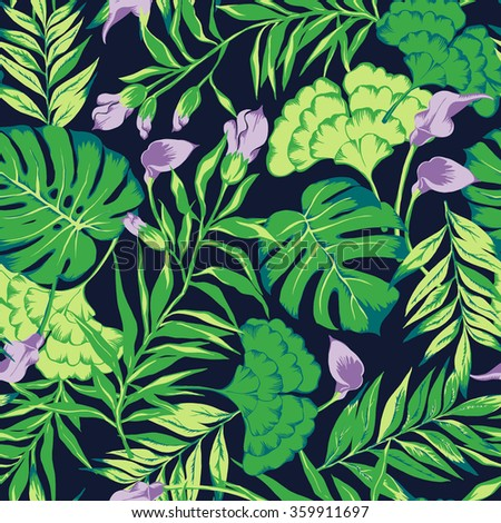 vector seamless cute hand drawn tropical flowers pattern. spring summer time, tropics nature, split leaf, philodendron, fern frond, green rain forest flora, colorful artistic print - stock vector