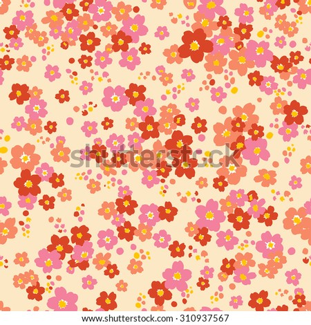 vector seamless cute little ditsy flower pattern. spring summer time. holidays mood. gentle romantic childish print. - stock vector