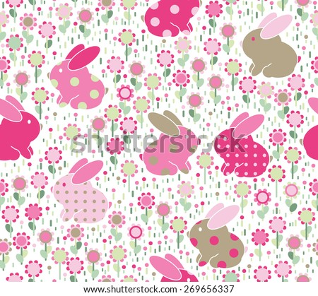 Vector seamless cute  pattern, rabbits in flowers,  pink and green colors, isolated on white. - stock vector