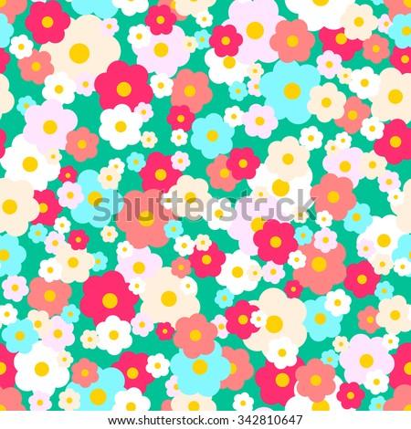 Vector seamless daisy pattern - stock vector
