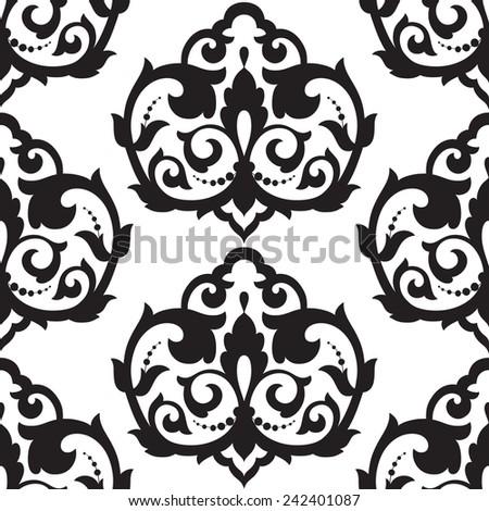 Vector. Seamless damask pattern.  Floral vector illustration. - stock vector