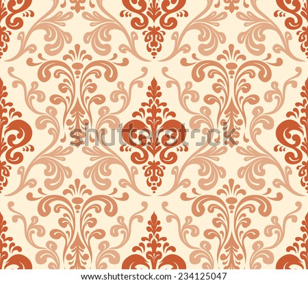 Vector. Seamless elegant damask pattern. Warm colors. - stock vector