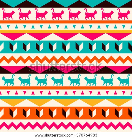 Vector seamless ethnic pattern. Abstract background. Geometric borders. Traditional colorful ornament with cats. - stock vector