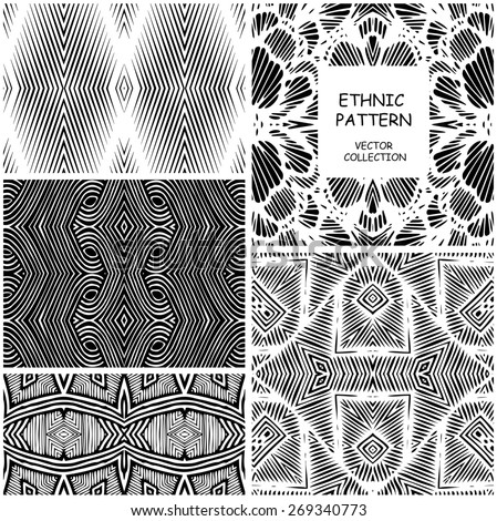 Vector seamless ethnic patterns with American Indian motifs in black and white colors. Original patterns collection can be used for wallpaper, pattern fills, web page background, surface textures - stock vector