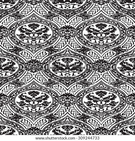 Vector seamless floral antique pattern with interlacing ribbons black and white background - stock vector