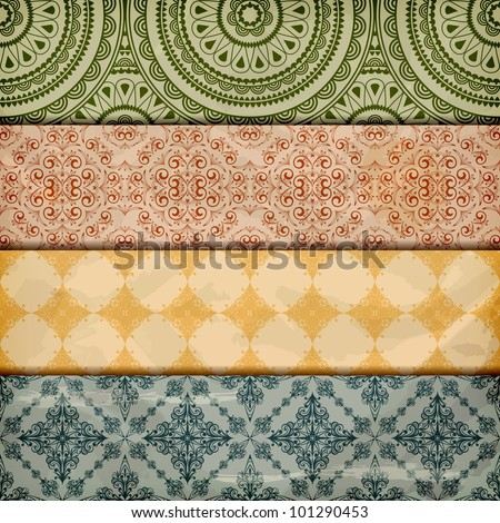 vector seamless floral borders on  crumpled   paper, grunge texture, eps 10, gradient mesh - stock vector