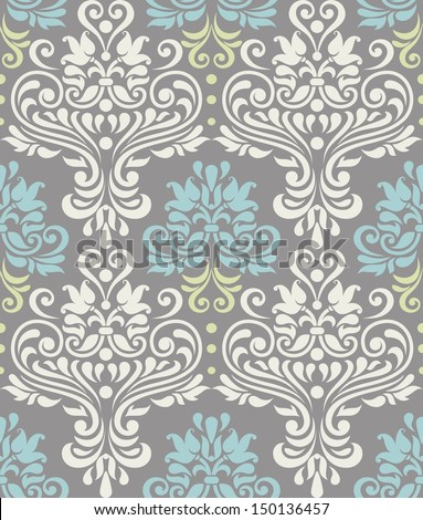 Vector seamless floral colorful damask pattern  - stock vector