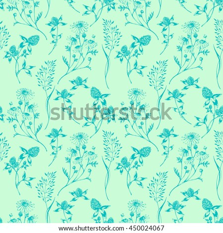 Vector seamless floral green background with wild herbs and flowers. Hand drawn botanical herbal illustration in sketch style. For print, fabric, wallpaper, wrapping and other seamless design. - stock vector