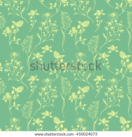 Vector seamless floral green pattern with wild herbs and flowers. Hand drawn botanical herbal illustration in sketch style. For print, fabric, wallpaper, wrapping and other seamless design. - stock vector