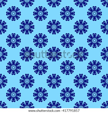 Vector Seamless Floral Mandala Pattern over blue color. Pattern in swatches panel. - stock vector