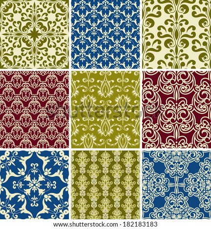 Vector seamless floral  paterns, fully editable eps10 file, seamless patterns in swatch menu,  - stock vector