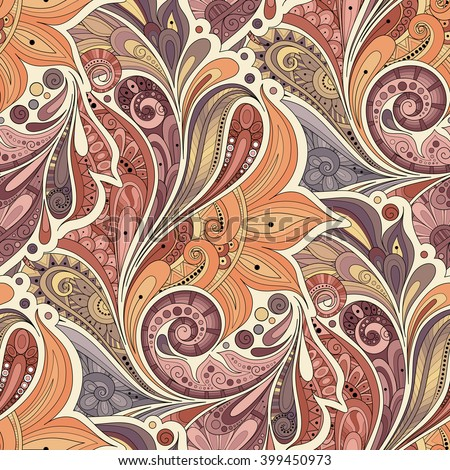 Vector Seamless Floral Pattern. Hand Drawn Texture with Flowers, Paisley Garden Style - stock vector