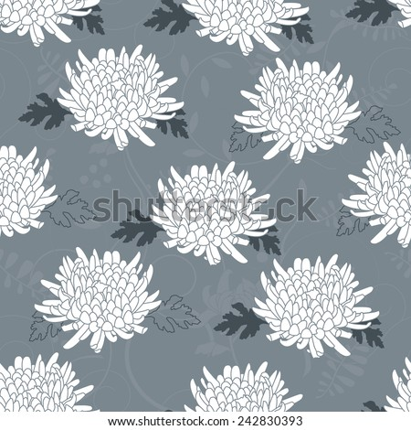 Vector Seamless Floral Pattern in Grey. Endless seamless pattern. Elegant vector backdrop. Use for wallpaper, web background, pillow & interior decoration, wrapping paper, pattern fills. Editable - stock vector