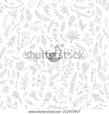 Vector seamless floral pattern with cute bird in nest. Isolated, colorless with red heart accent. Can be used as a background,  pattern, backdrop,  wallpaper or as bag template, print for packet etc. - stock vector