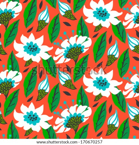 Vector seamless floral pattern with daisy flowers on bright red. Texture for web, print, wallpaper, gift wrapping, home decor, spring summer fashion, wedding invitation background, textile design. - stock vector
