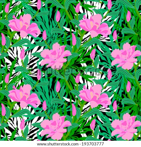 Vector seamless floral pattern with tropical decor: big pink flowers on background of palm leaves silhouettes, bushes, branches and jungle foliage - stock vector
