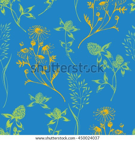 Vector seamless floral pattern with wild herbs and flowers. Colored on blue. Hand drawn botanical herbal illustration in sketch style. For print, fabric, wallpaper, wrapping and other seamless design. - stock vector