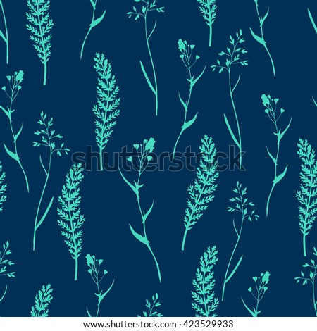 Vector seamless floral pattern with wild herbs and leaves. On blue.  Hand drawn botanical illustration for print, wrapping, fabric, background and other seamless natural design. - stock vector