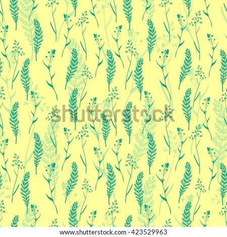 Vector seamless floral pattern with wild herbs and leaves on yellow. Hand drawn botanical illustration for print, wrapping, fabric, background and other seamless natural design. - stock vector