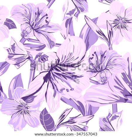 Vector Seamless Flower Pattern. Flower pattern with purple flowers. Background for your design fashion fabric, textile, wallpaper, scrapbook and etc - stock vector