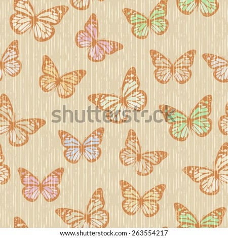 Vector Seamless Flying Butterfly Background Pattern - stock vector