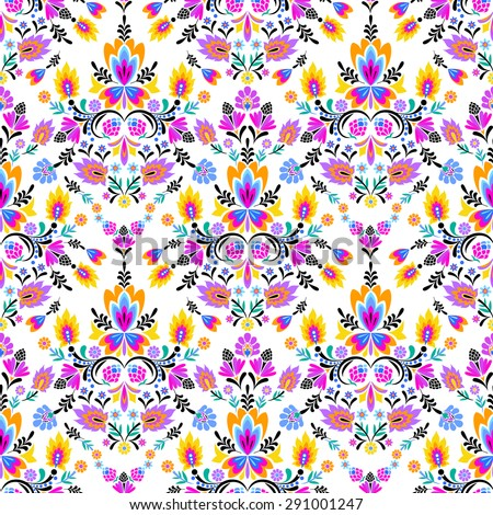 vector seamless folk pattern. colorful floral arrangements, ethnic Polish wzory look.  - stock vector