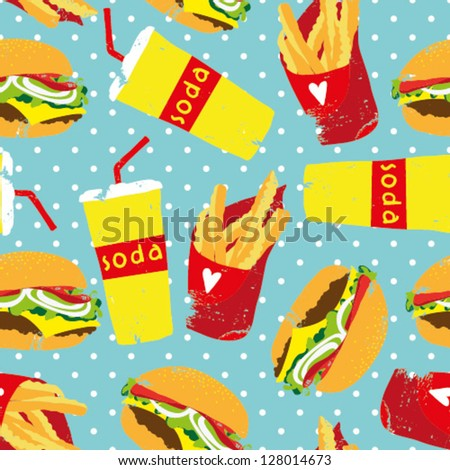 Vector seamless food pattern with french, hamburger and soda - stock vector